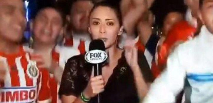 Reportera acosada en festejo de las chivas Minerva
