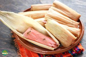 Tamales Tradicionales de Dulce Mexicanos color rosa